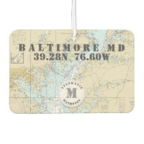 Baltimore MD Nautical Chart Monogram Boating Car Air Freshener