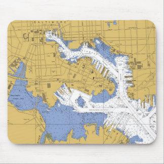 Baltimore MD Nautical Harbor Chart mousepad