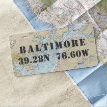 Baltimore MD Nautical Latitude Longitude License Plate