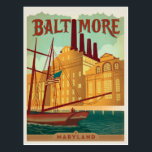 "Baltimore, MD Postcard<br><div class=""desc"">Anderson Design Group is an award-winning illustration and design firm in Nashville,  Tennessee. Founder Joel Anderson directs a team of talented artists to create original poster art that looks like classic vintage advertising prints from the 1920s to the 1960s.</div>"