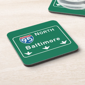 Baltimore, MD Road Sign Coasters