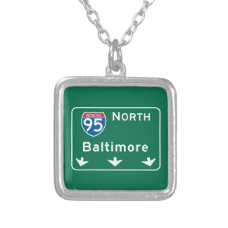 Baltimore, MD Road Sign Necklaces