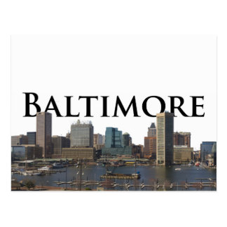 Baltimore MD Skyline with Baltimore in the Sky Postcard