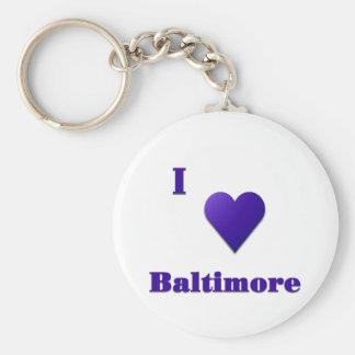 Baltimore -- Midnight Blue Basic Round Button Keychain