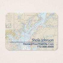 Baltimore Nautical Chart Clean Fresh Blue Tan Business Card