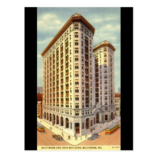 Baltimore & Ohio Building, Baltimore MD Vintage Postcard