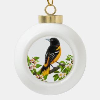 Baltimore Oriole Bird in Apple Blossoms Ornament