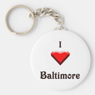 Baltimore -- Red and Black Basic Round Button Keychain