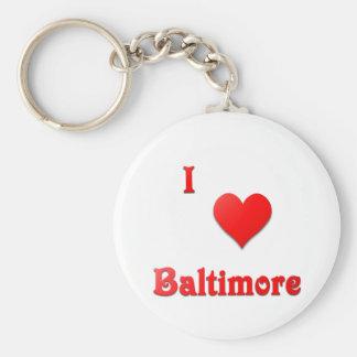 Baltimore -- Red Basic Round Button Keychain