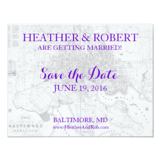 Baltimore Save the Date Vintage Map (gray) Card