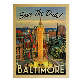 Baltimore Save The Date Vintage Postcards