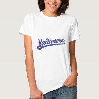 Baltimore script logo in blue tee shirt