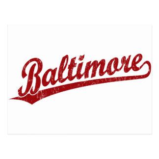 Baltimore script logo in red postcard