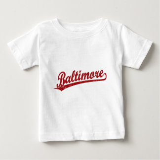 Baltimore script logo in red t shirts