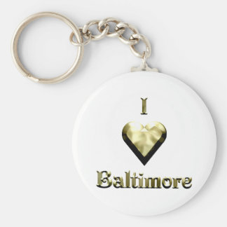 Baltimore -- Shimmering Gold Basic Round Button Keychain