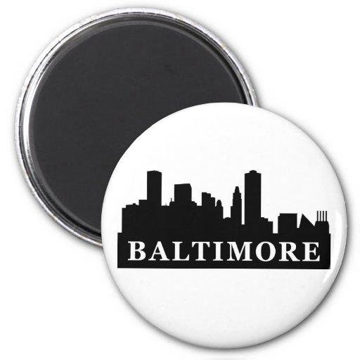 Baltimore Skyline 2 Inch Round Magnet