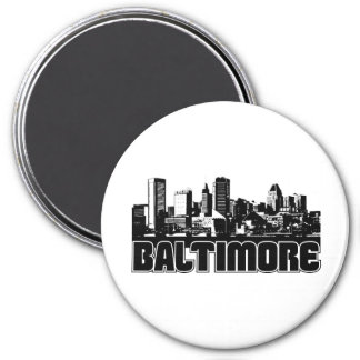 Baltimore Skyline 3 Inch Round Magnet
