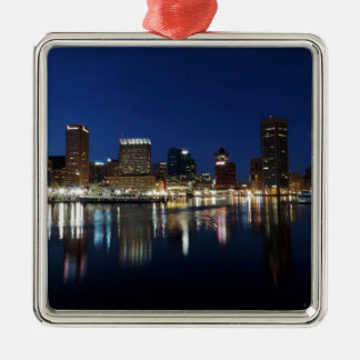 Baltimore Skyline at Dusk Christmas Ornaments