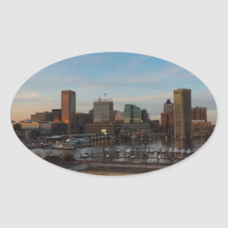 Baltimore Skyline at Sunset Oval Sticker