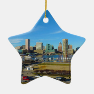 Baltimore Skyline from Federal Hill Ceramic Ornament