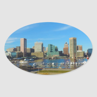 Baltimore Skyline from Federal Hill Oval Sticker