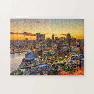 Baltimore Sunset Cityscape Jigsaw Puzzle