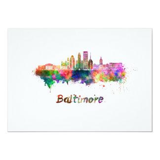 Baltimore V2 skyline in watercolor Card