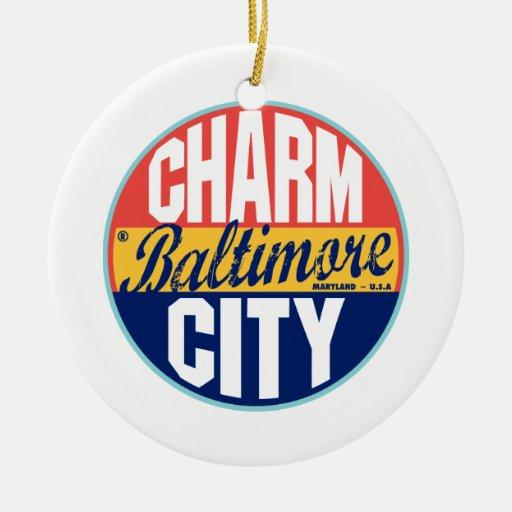 Baltimore Vintage Label Ceramic Ornament