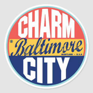 Baltimore Vintage Label Classic Round Sticker