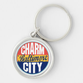 Baltimore Vintage Label Silver-Colored Round Keychain