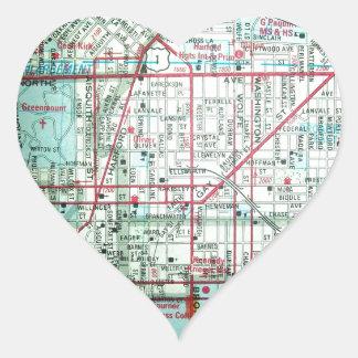 BALTIMORE Vintage Map Heart Sticker
