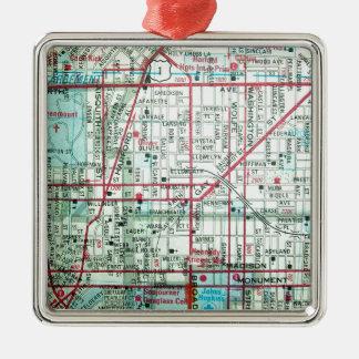 BALTIMORE Vintage Map Metal Ornament