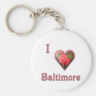 Baltimore -- with Red Rose Basic Round Button Keychain