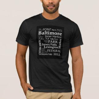 Baltimore Word Art T-Shirt in Black