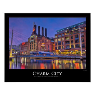 Baltimore's Power Plant Glows at Night Poster