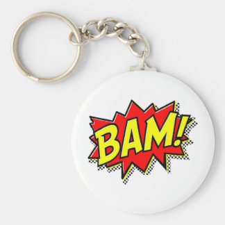 BAM COMICBOOK SOUNDS ACTIONS LOUD COMICS CARTOONS BASIC ROUND BUTTON KEYCHAIN
