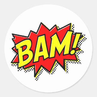 BAM COMICBOOK SOUNDS ACTIONS LOUD COMICS CARTOONS CLASSIC ROUND STICKER