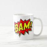 BAM COMICBOOK SOUNDS ACTIONS LOUD COMICS CARTOONS CLASSIC WHITE COFFEE MUG