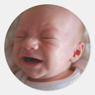 Bam cries classic round sticker