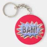 BAM! Distressed look Emeril Apron Basic Round Button Keychain