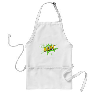 Bam flash on white adult apron