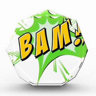 Bam flash on white acrylic award