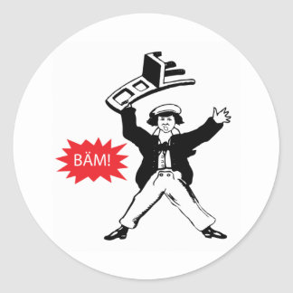 BAM! Guy with Chair Classic Round Sticker