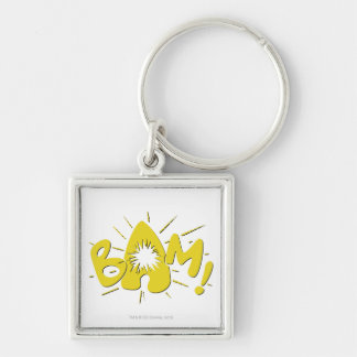BAM! Silver-Colored SQUARE KEYCHAIN