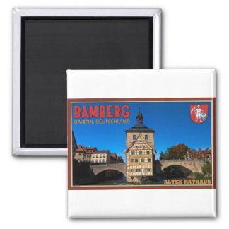 Bamberg - paisaje de Altes Rathaus Imán Cuadrado