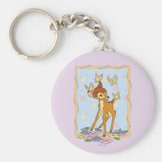 Bambi and Butterflies Basic Round Button Keychain