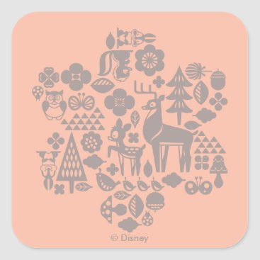 Disney Themed Bambi and Woodland Creatures Square Sticker