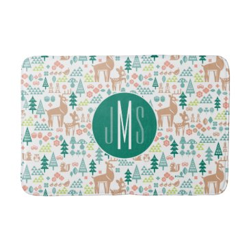 Disney Themed Bambi and Woodland Friends Pattern | Monogram Bathroom Mat