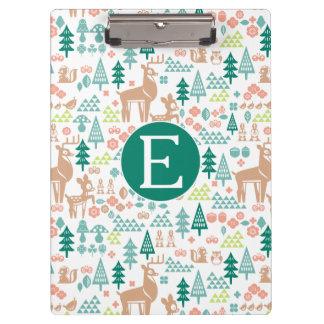 Bambi and Woodland Friends Pattern | Monogram Clipboard