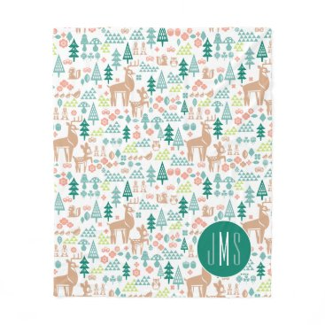 Disney Themed Bambi and Woodland Friends Pattern | Monogram Fleece Blanket